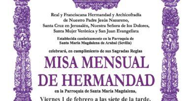 Misa mensual febrero – Presentación a la Virgen de los Dolores